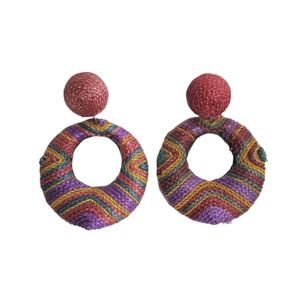 Jewelry - Vintage Drop Circle Earrings Yarn Multicolor